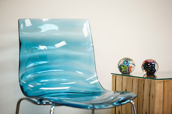 blue chair in waiting area Riverside Title