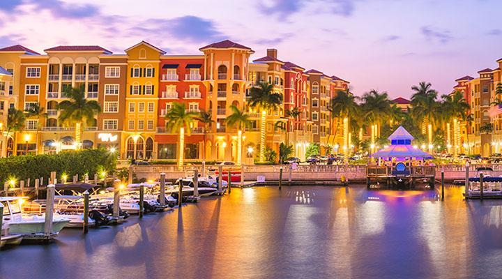Naple Florida skyline at night